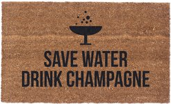 CoCo Mats N More Save Water Drink Champagne Doormat
