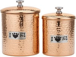 Old Dutch 2pc Hammered Copper Cat Paw Pet Canister Set