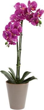 Nearly Natural 24in Speckled Phalaenopsis Orchid Artificial Arrangement