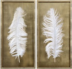 Set of 2 Uttermost White Feathers Gold Shadow Box