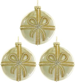 Kurt Adler Set of 3 Gold Glittered Ornaments