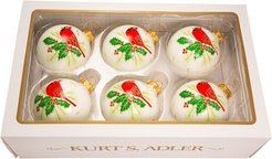 Kurt Adler Set of 6 Cardinal Glass Ornaments