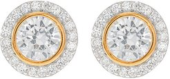 CZ by Kenneth Jay Lane 18K Plated Two-Tone Post Earring