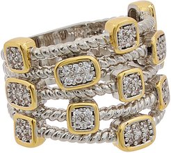 Juvell 18K Two-Tone Plated CZ Twisted Cable Multi Row Ring