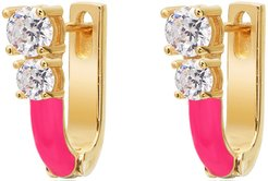 Gabi Rielle Gold Over Silver CZ Pure Pink Diamonette Huggie Earrings
