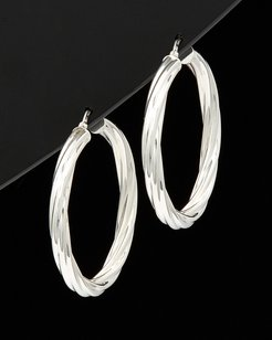 Italian Silver Round Twisted Hoop Earrings