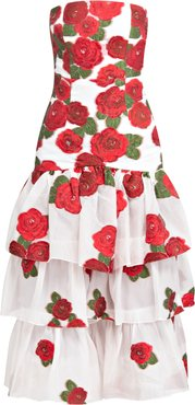 White Roses Strapless Midi Ruffle Dress