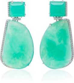 14K White Gold Chrysoprase Drop Earrings