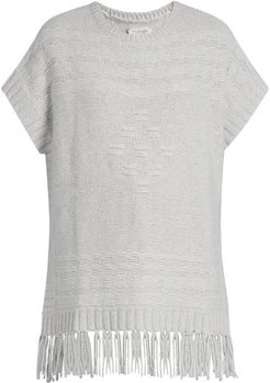 Destinee Fringed Poncho - Womens - Light Grey