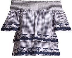Off-the-shoulder Gingham Cotton Top - Womens - Blue White