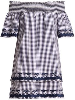 Off-the-shoulder Gingham Cotton Dress - Womens - Blue White