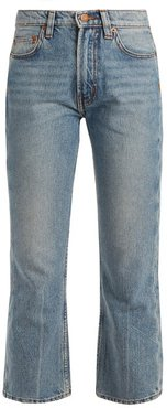 Cowboy-fit Bootcut Cropped Jeans - Womens - Light Blue
