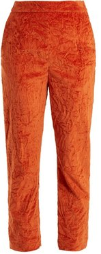 Slim-leg Crushed-velvet Cotton-blend Trousers - Womens - Dark Orange