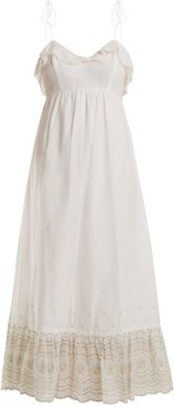 Sunday Morning Lace-trimmed Maxi Dress - Womens - Ivory