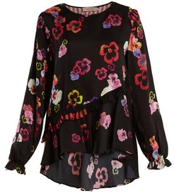 Darcey Ruffle-trimmed Pansy-print Crepe Top - Womens - Black Multi
