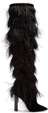 Yeti Feather-embellished Over-the-knee Boots - Womens - Black