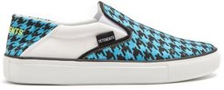 Houndstooth-print Slip-on Trainers - Womens - Blue