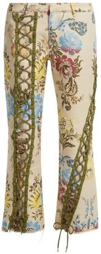 Lace-up Floral-jacquard Trousers - Womens - Cream Multi