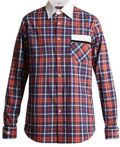 Stevie Point-collar Cotton-tartan Shirt - Womens - Red Navy
