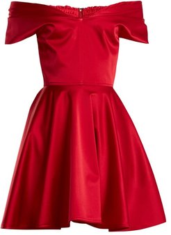 Tamara Off-the-shoulder Stretch-silk Dress - Womens - Red