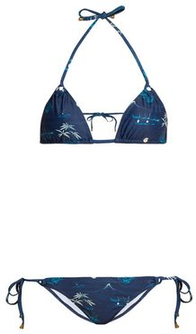 Alex Floral And Palm Tree-print Triangle Bikini - Womens - Navy Print