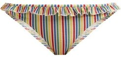 The Milly Striped-seersucker Bikini Briefs - Womens - Multi Stripe