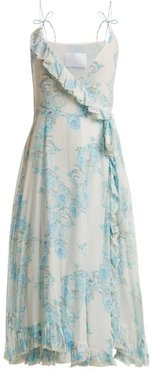 Walking On A Dream Floral-print Silk Wrap Dress - Womens - Blue White