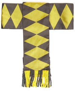 Fringed Geometric-jacquard Silk Belt - Womens - Yellow