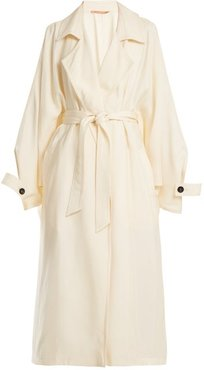 Notch-lapel Belted Satin Trench Coat - Womens - White