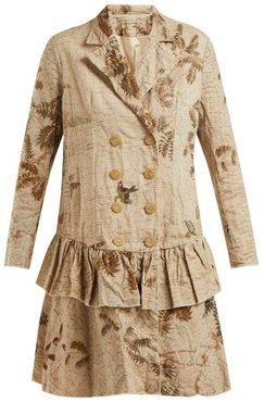 Hazy-jungle Double-breasted Coat - Womens - Beige Print