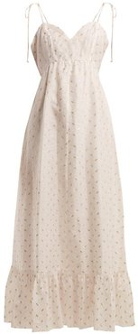 Tiered Fil-coupé Dress - Womens - Gold Multi
