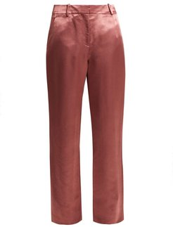 Tatum Satin Trousers - Womens - Dark Pink