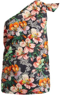 Noor One-shoulder Floral-print Top - Womens - Navy Multi
