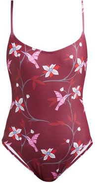 Billy Tropical Floral-print Swimsuit - Womens - Burgundy Multi