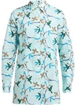 Georgie Hummingbird-print Cotton-poplin Shirt - Womens - Blue Multi