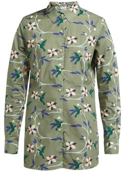 Georgie Hummingbird-print Cotton-poplin Shirt - Womens - Khaki Multi