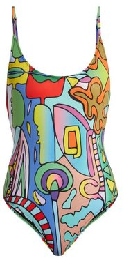 Cosmic Planet-print Swimsuit - Womens - Multi