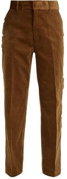Scallop-edge Cotton-corduroy Trousers - Womens - Camel
