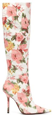 Floral-print Leather Knee-high Boots - Womens - Pink White