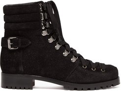 Who Runs Glitter Suede Hiking Boots - Womens - Black