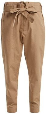 High-rise Cotton-blend Trousers - Womens - Beige