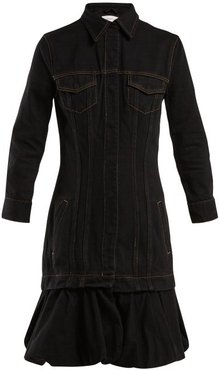 Drop-waist Bubble-hem Denim Dress - Womens - Black