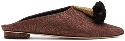 Floral-brocade Backless Slipper Shoes - Womens - Burgundy Multi