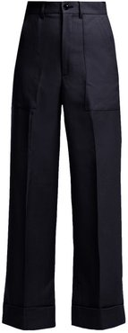 Wool Trousers - Womens - Navy