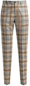 High-rise Checked Wool-blend Trousers - Womens - Beige Multi
