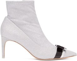 Andie Bow-trim Glitter Boots - Womens - Silver