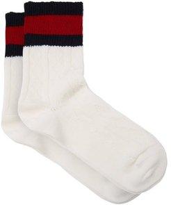 Web-striped Cable-knit Wool-blend Socks - Mens - White