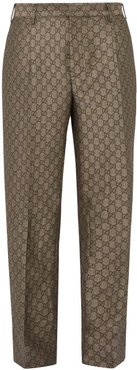 GG Pleated Cotton And Wool-blend Trousers - Mens - Beige
