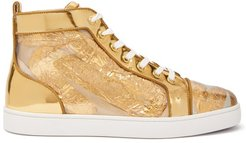 Louis Foil-embellished High-top Leather Trainers - Mens - Gold