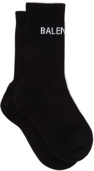 Logo-jacquard Cotton-blend Socks - Womens - Black